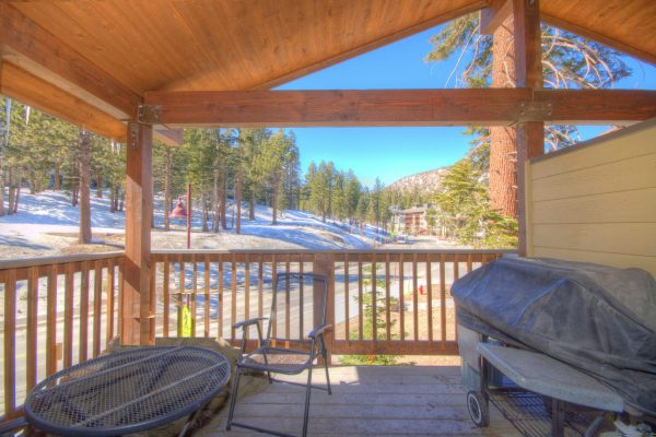 Porch with gas BBQ overlooks the Village & Gondola Landing